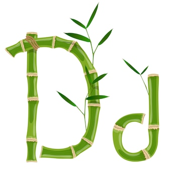 Bambusbuchstabe d mit jungen trieben mit blättern, öko-vektorschrift