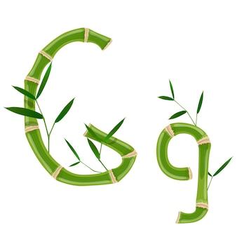 Bambusbuchstabe g mit jungen trieben mit blättern, öko-vektorschrift