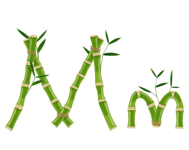 Bambusbuchstabe m mit jungen trieben mit blättern, öko-vektorschrift