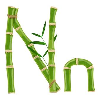 Bambusbuchstabe n mit jungen trieben mit blättern, öko-vektorschrift