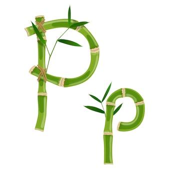 Bambusbuchstabe p mit jungen trieben mit blättern, öko-vektorschrift