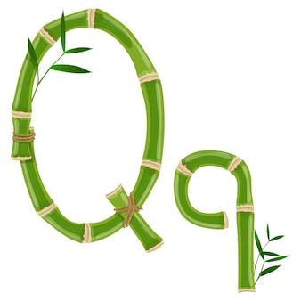 Bambusbuchstabe q mit jungen trieben mit blättern, öko-vektorschrift