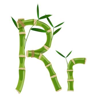 Bambusbuchstabe r mit jungen trieben mit blättern, öko-vektorschrift