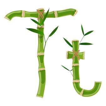 Bambusbuchstabe t mit jungen trieben mit blättern, öko-vektorschrift