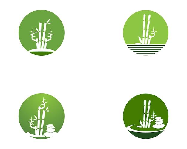 Bambusikonenbadekurortlogo-designvektorillustration