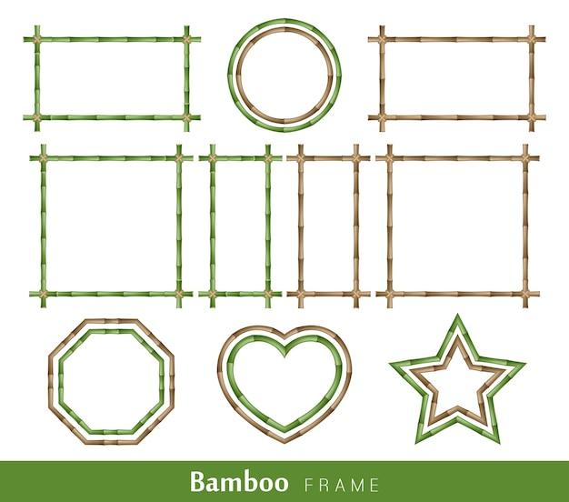 Bambusrahmen aus mit einem seil zusammengebundenen stielen