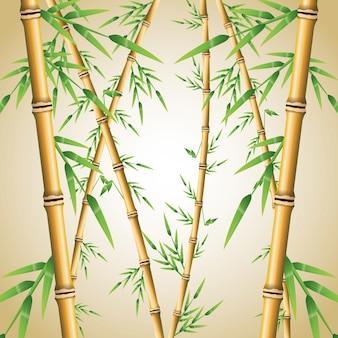 Bambusstamm mit blattikone. natur pflanze dekoration