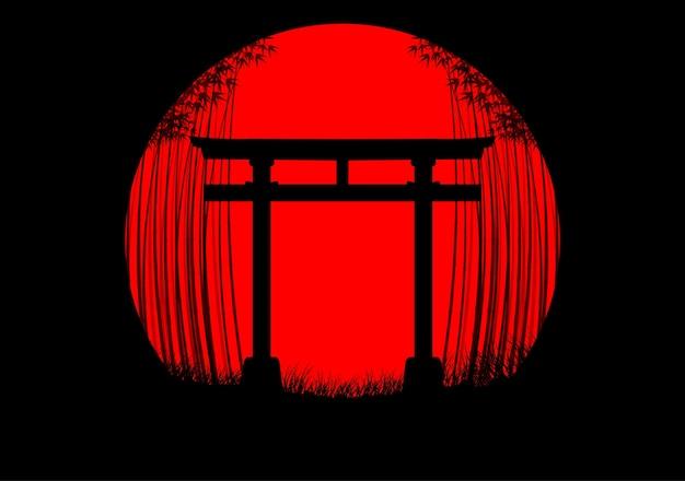Bambuswaldhintergrund im japanischen sonnenaufgang