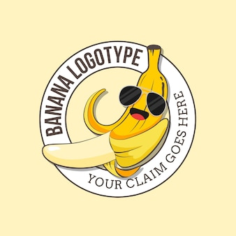 Banane, die sonnenbrillenlogoschablone trägt
