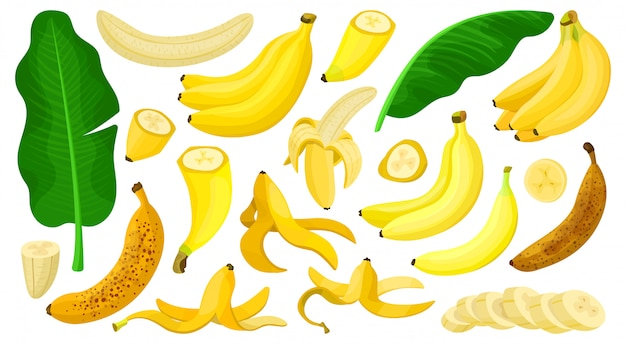 Banane isolierte karikatursatzikone. illustration tropische frucht cartoon