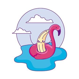 Banane mit flämischem floss im meer-kawaii-charakter