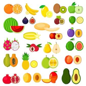 Banane und kiwi, orange und apfel, birne und ananas, wassermelone, pflaume und aprikose, melone, avocado und pfirsich, drachenfrucht und mango, papaya und granatapfel, feige und feijoa, karambola und durian