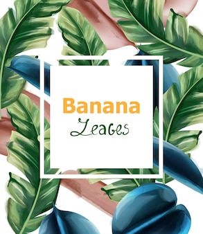 Banane verlässt aquarellhintergrund