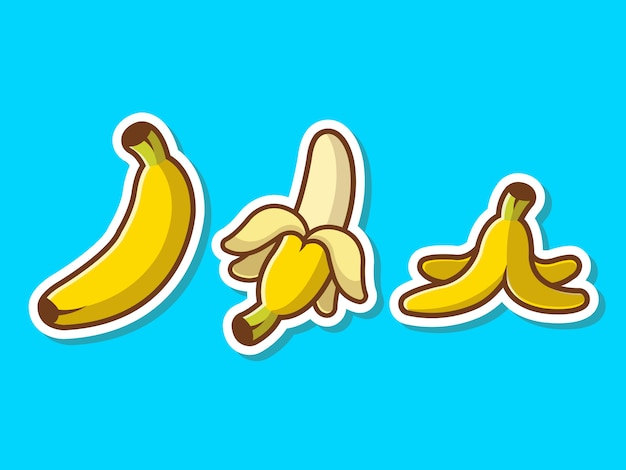 Bananen-gesetzte frucht-aufkleber-vektoraufkleber illustration.