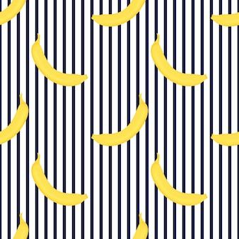 Bananen nahtlose streifenmuster. sommerfruchtdesign.