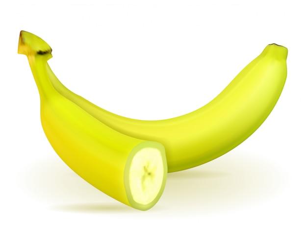 Bananen-reifes gelb und eine etwas grüne vektorillustration
