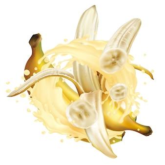 Bananen und ein schuss milchshake oder joghurt.