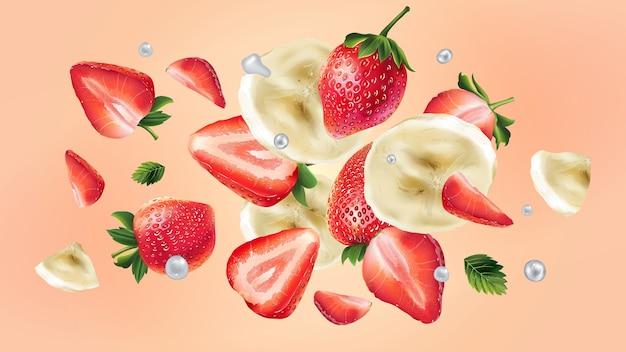 Bananen- und erdbeerscheiben verteilen sich mit wassertropfen im weltraum. realistische illustration.
