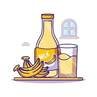 Bananen- und milchflasche für weltmilchtag-karikaturillustration
