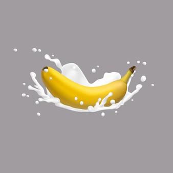 Bananen- und milchspritzen, ikone des vektors 3d