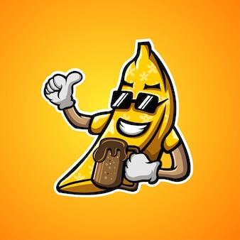Bananen- und schokoladenmaskottchenillustration
