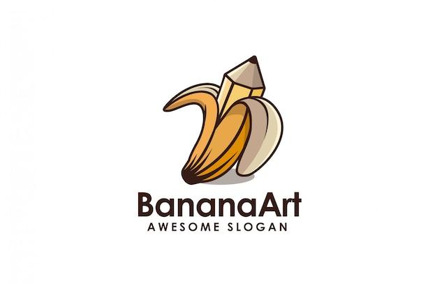 Bananen- und zeichnungsbleistift-karikaturlogo