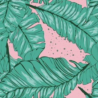 Bananenblatt-vektor nahtloses muster. tropischer hintergrund mit blättern.