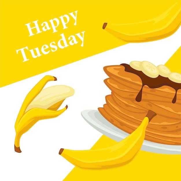 Bananendessert auf teller serviert, pfannkuchen mit schokoladenbelag. süßes gericht mit gesunden exotischen oder tropischen früchten. werbebanner oder poster, rabatte für cafés oder restaurants. vektor in flach