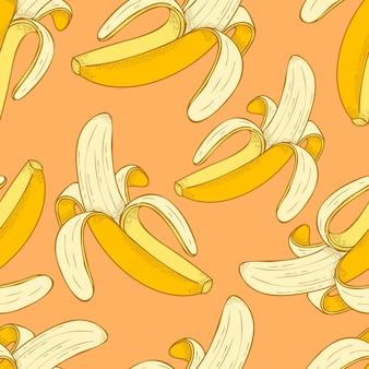 Bananenfrucht handgezeichnete vektor-illustration nahtlose muster