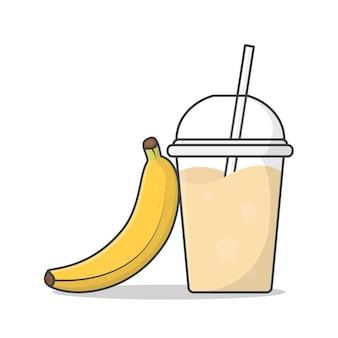 Bananensaft oder milchshake im plastikbecher zum mitnehmen
