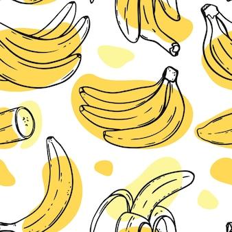 Bananenskizzen mit gelber farbe spritzt nahtloses muster auf weißem hintergrund