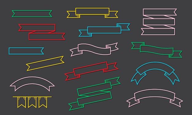 Band-aufkleber-fahnen-sammlungs-illustration