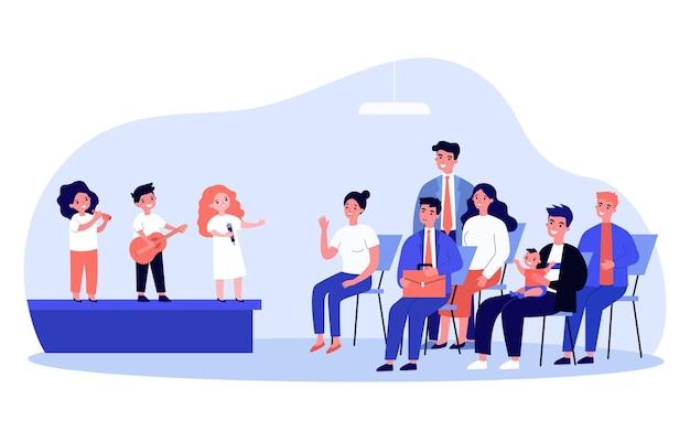 Band von kindern, die instrument spielen und vor publikum singen