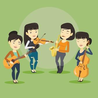 Band von musikern, die auf musikinstrumenten spielen.