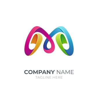 Bandbuchstabe m-logo mit buntem stil 3d
