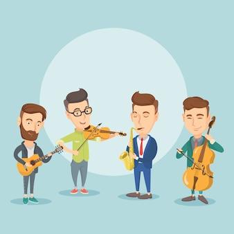 Bande von musikern, die auf musikinstrumenten spielen.