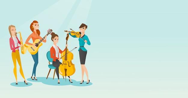 Bande von musikern, die musikinstrumente spielen.