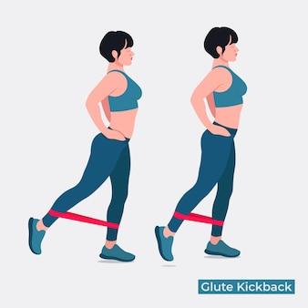 Banded glute kickbacks übung frauen workout fitness aerobic und übungen