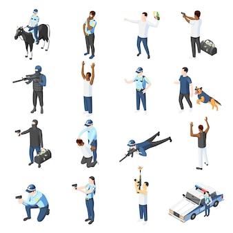 Banden und isometrische ikonen der polizei von offizieren mit waffentraining, die patrouillieren und kriminelle isolierte illustration jagen