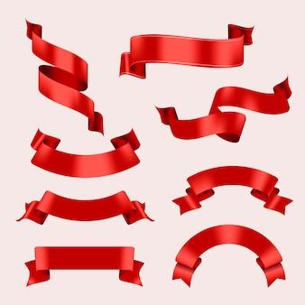 Bandfahnenvektorkunst, rotes realistisches etikettendesign-set