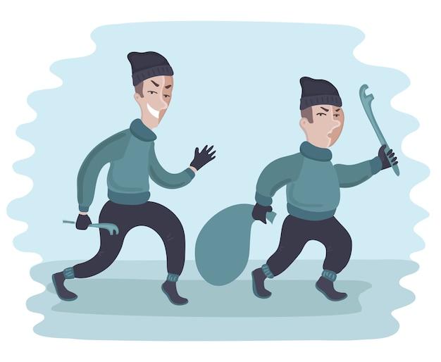 Banditen und hooligans - kriminelles nachtleben. illustration auf weiß.
