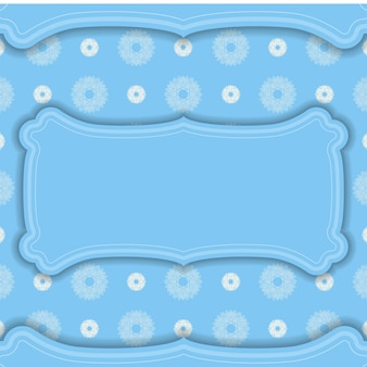 Baner der blauen farbe mit abstraktem weißem muster für design unter ihrem text