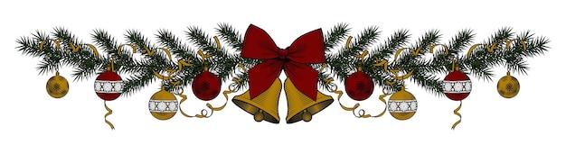 Baner des weihnachtsbaumes mit glocken und band lokalisiert auf weiß.