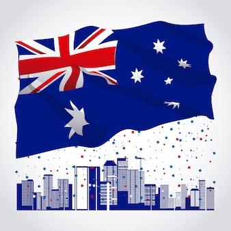 Baner glücklichen australien-tages mit flagge und skylinen