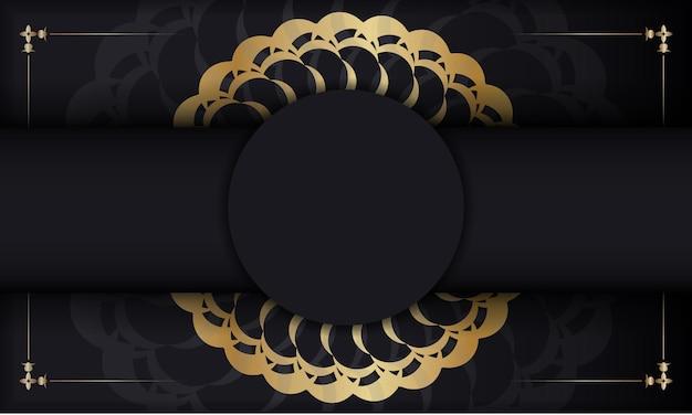Baner in schwarz mit goldenem indischem ornament