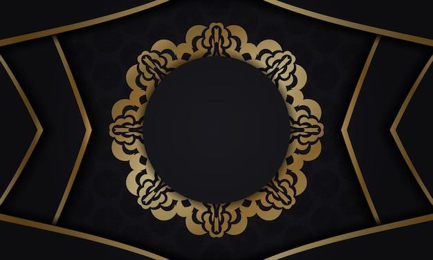 Baner in schwarz mit luxuriösem goldmuster und platz für ihr logo
