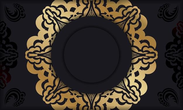 Baner in schwarz mit luxuriösem goldmuster und platz unter dem logo