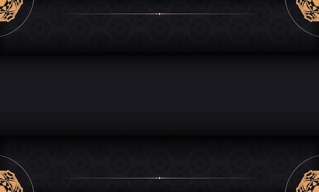 Baner in schwarz mit luxuriösem muster und platz für ihren text