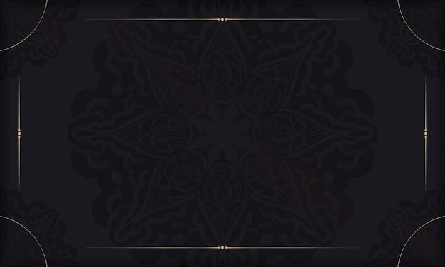 Baner in schwarz mit luxuriösem muster und platz unter dem logo