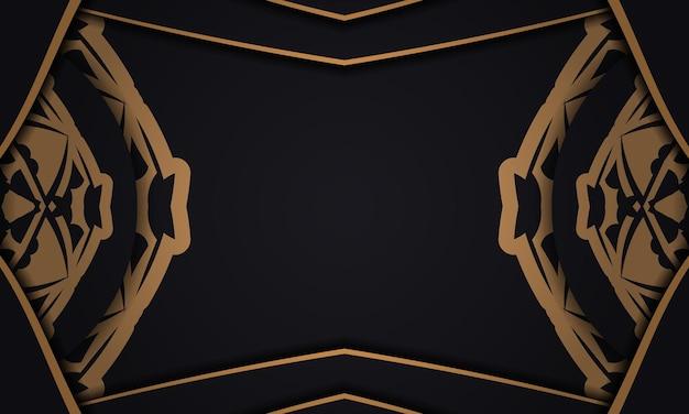 Baner in schwarz mit luxuriösem orangefarbenem muster und einem platz unter dem logo